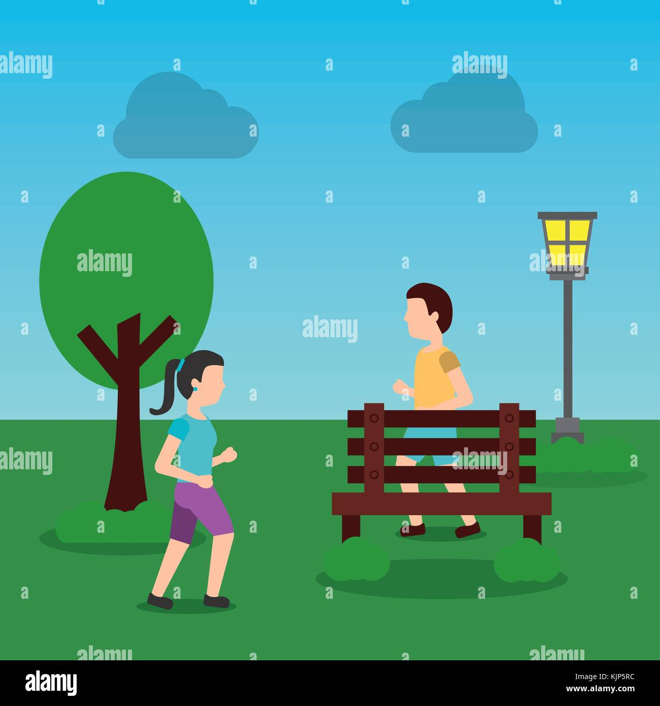 young man and woman jogging in the park - Stock Vector