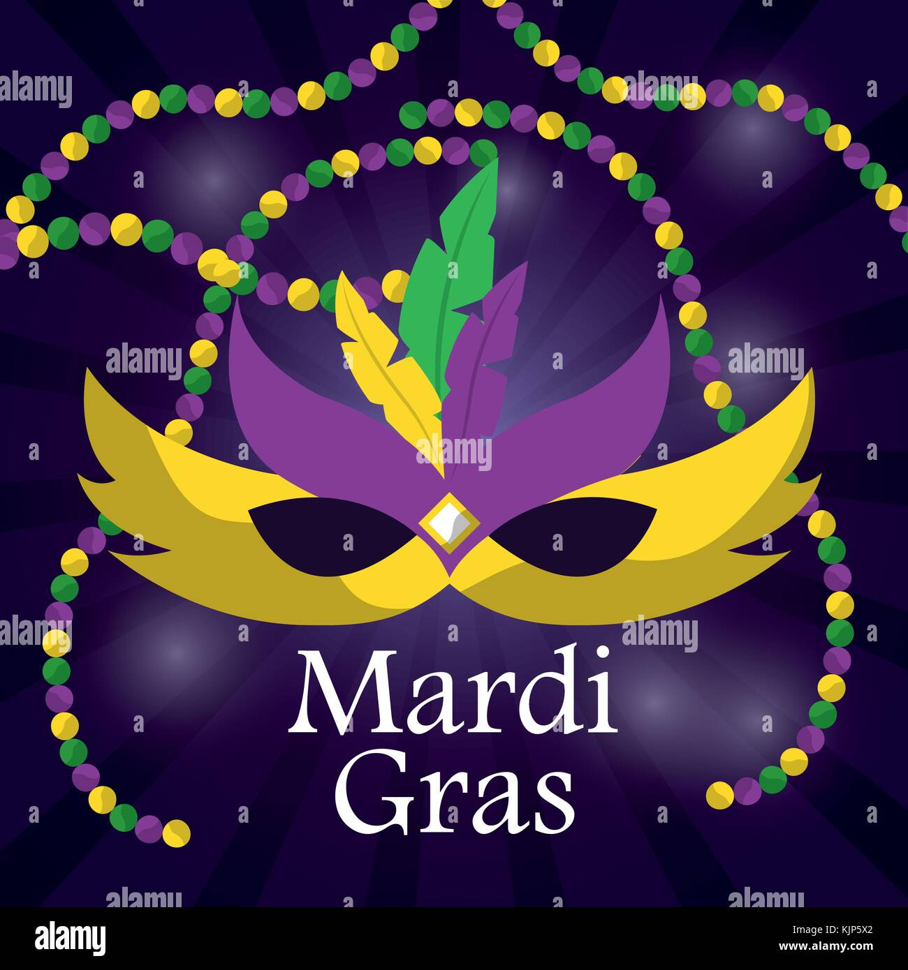 mardi gras carnival mask with feathers and beadss blurred background - Stock Vector