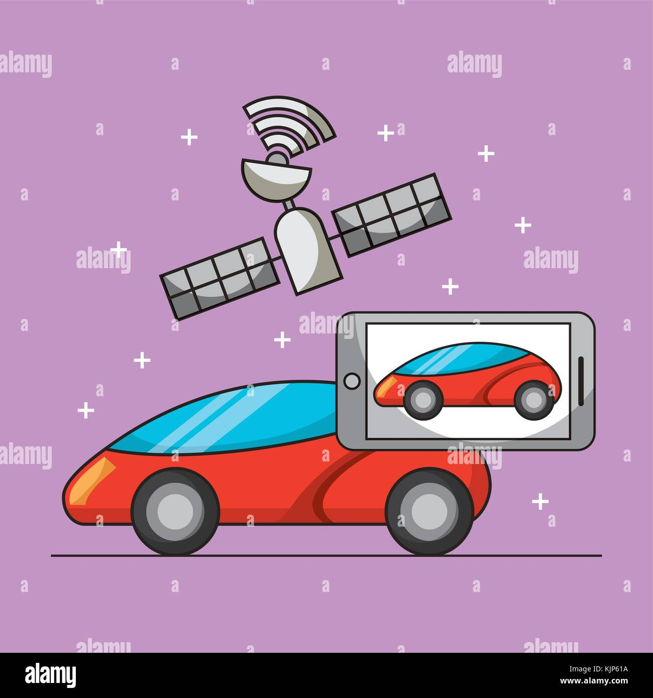 smart car gps satellite navigation technology for automobile search - Stock Image