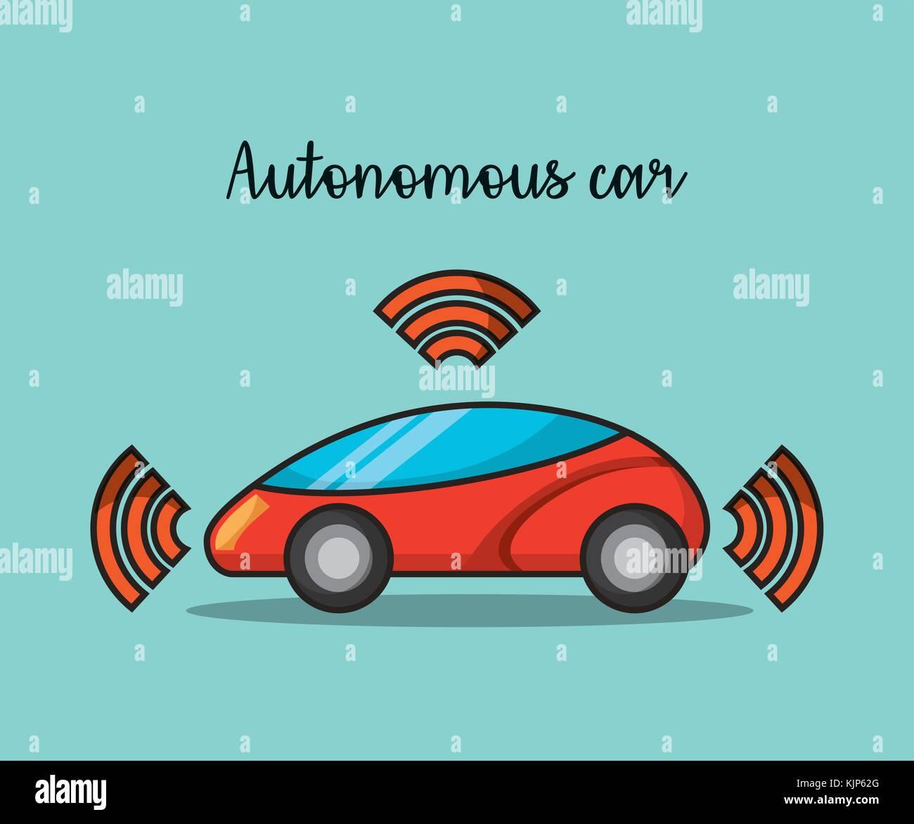 autonomous car wireless sensor signal future technology Stock Vector