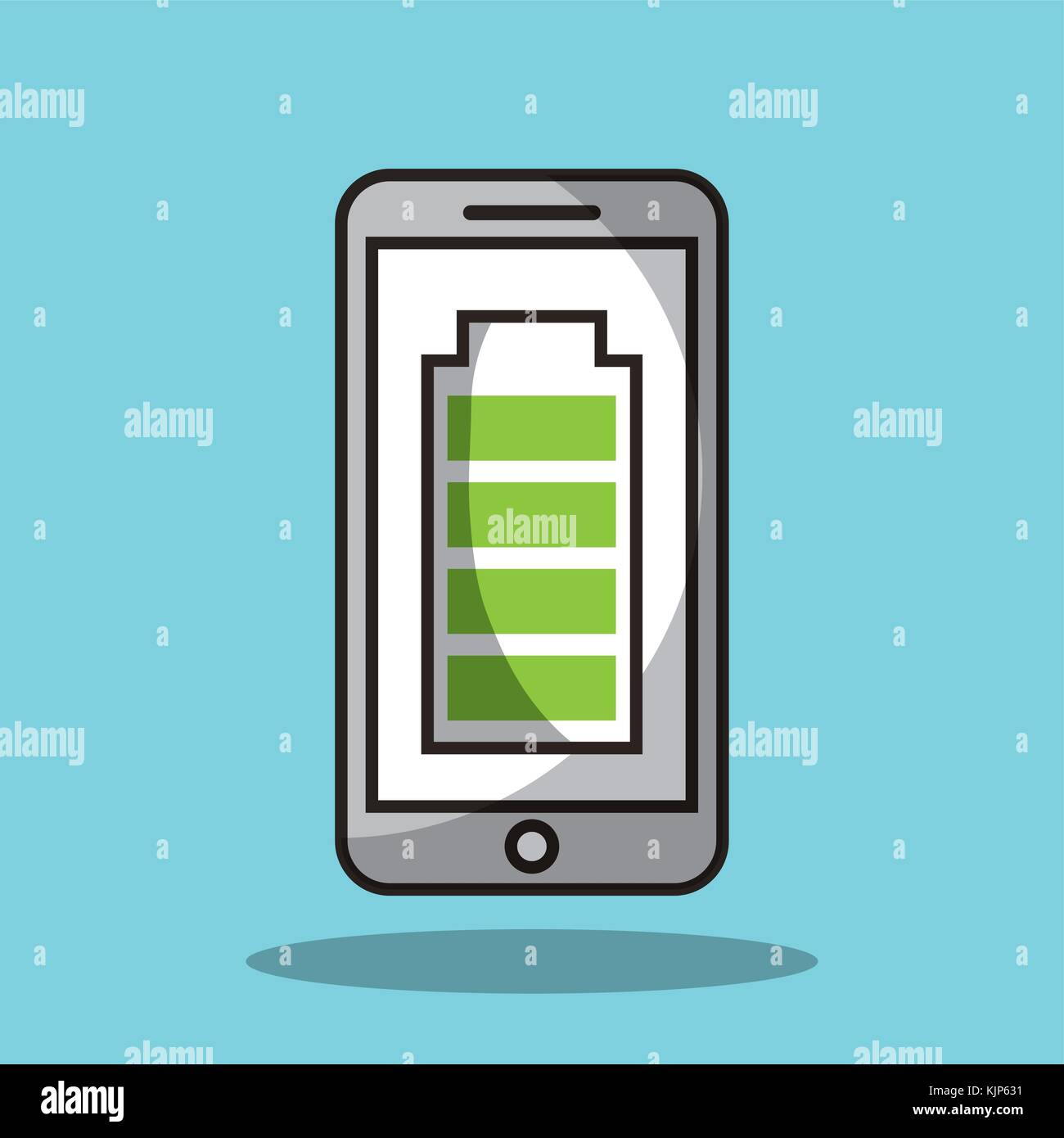 smartphone with battery full charge technology - Stock Vector