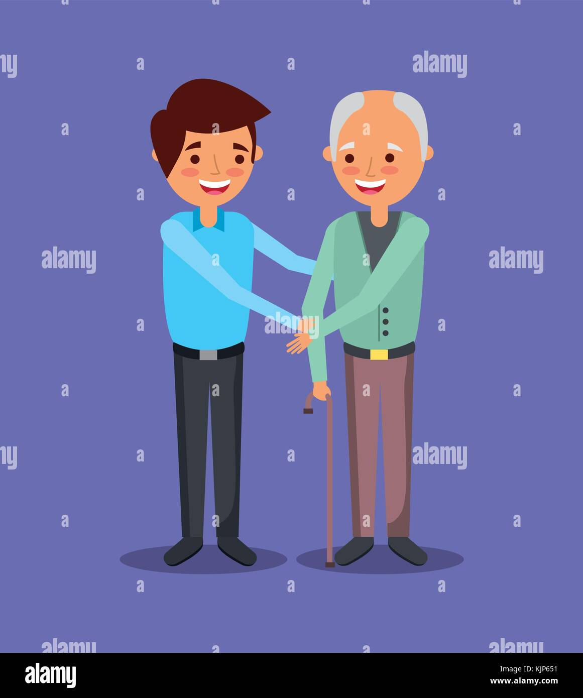 young man with old man holding hand help together - Stock Vector