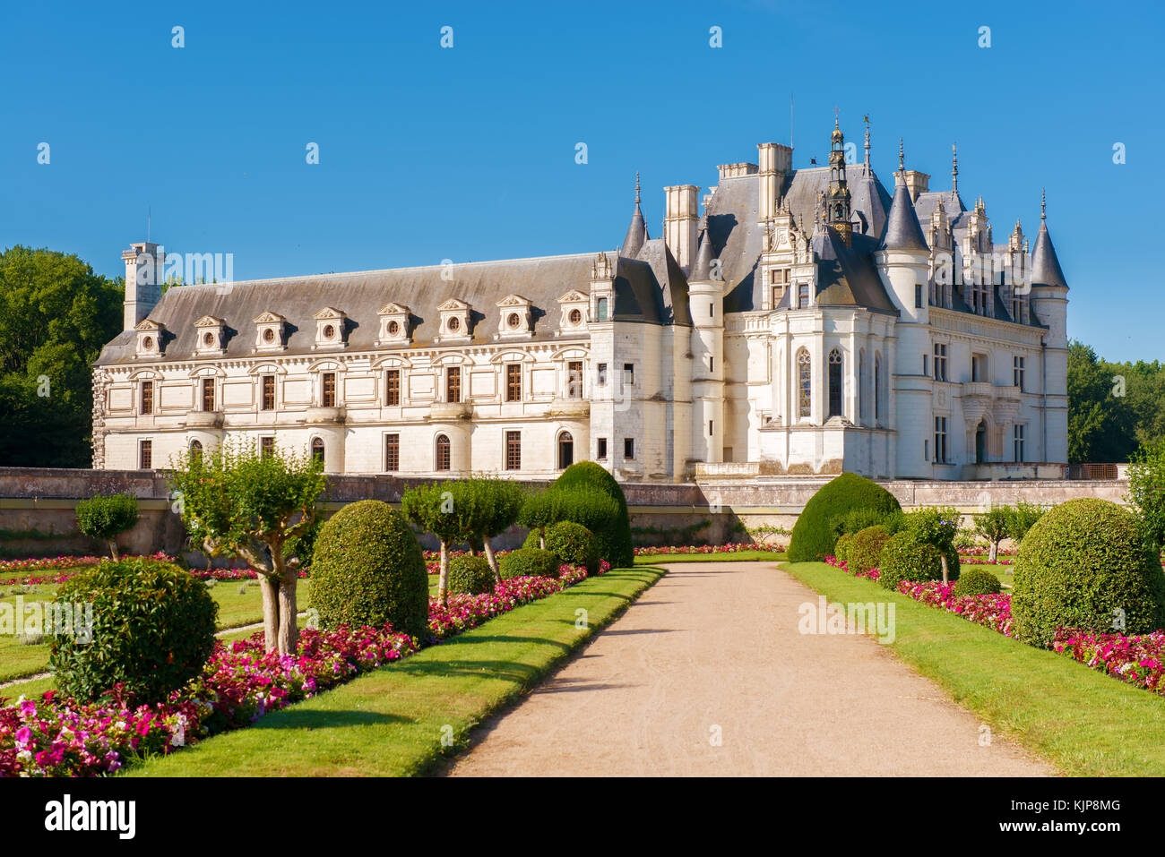 Chenonceau chateau, built over the Cher river , Loire Valley,France,on gradient blue  sky background. - Stock Image