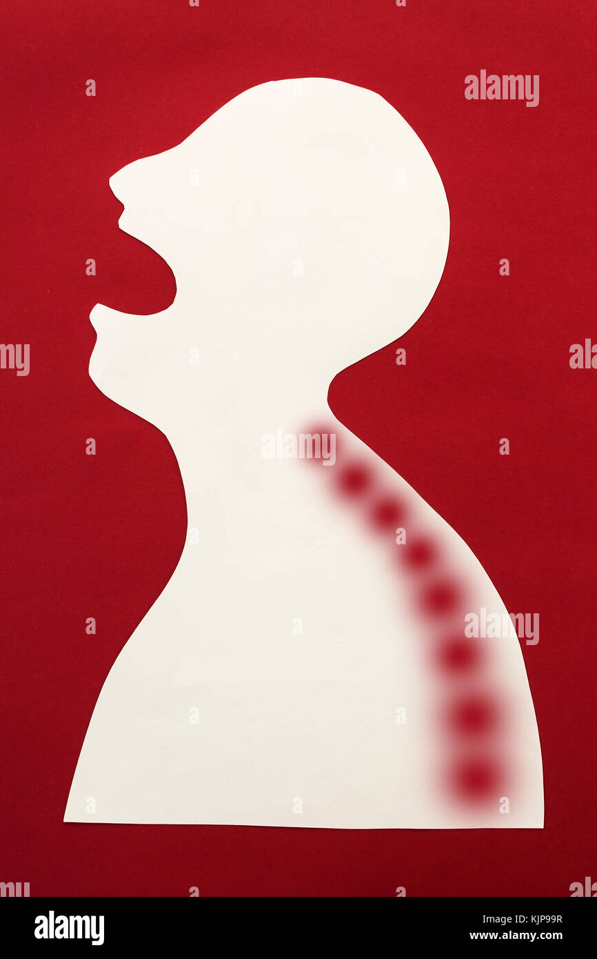 concept of human disease diagnosis and pain localization on silhouette - symbol of abstract patient body, burning - Stock Image