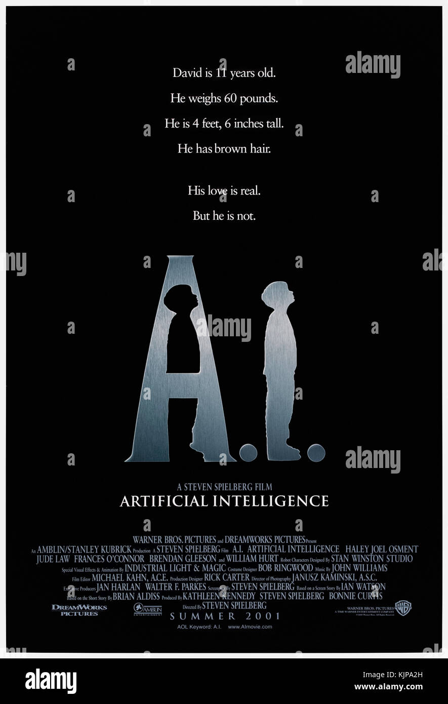 A.I. Artificial Intelligence (2001) directed by Steven Spielberg and starring Haley Joel Osment, Jude Law and Frances - Stock Image
