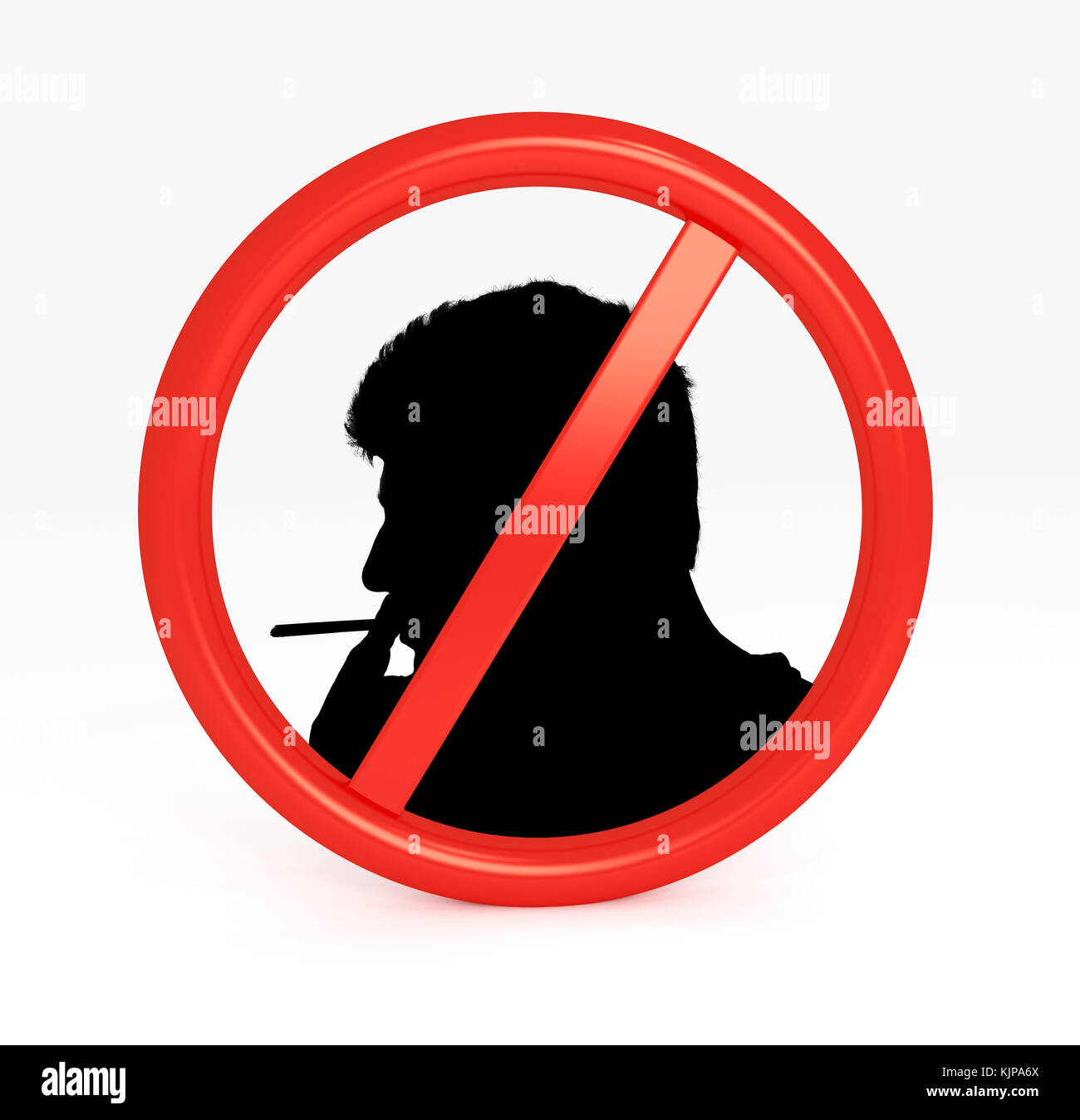 Red Not Allowed Sign on white background.3d rendering. - Stock Image