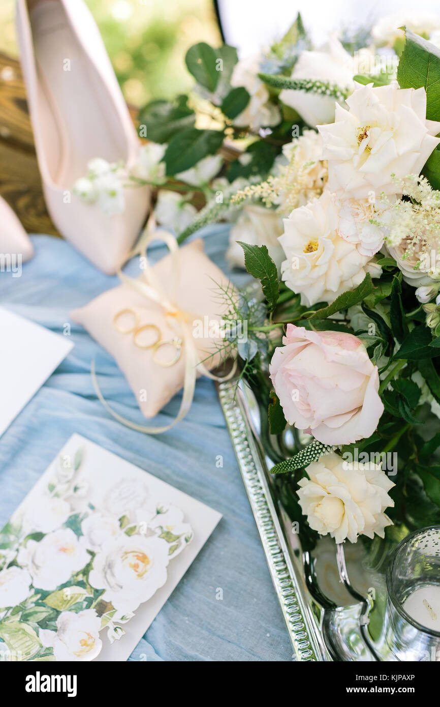gift, engagement, valentine concept. on the sky blue draping there is dazzling tray with great bunch of marvelous - Stock Image