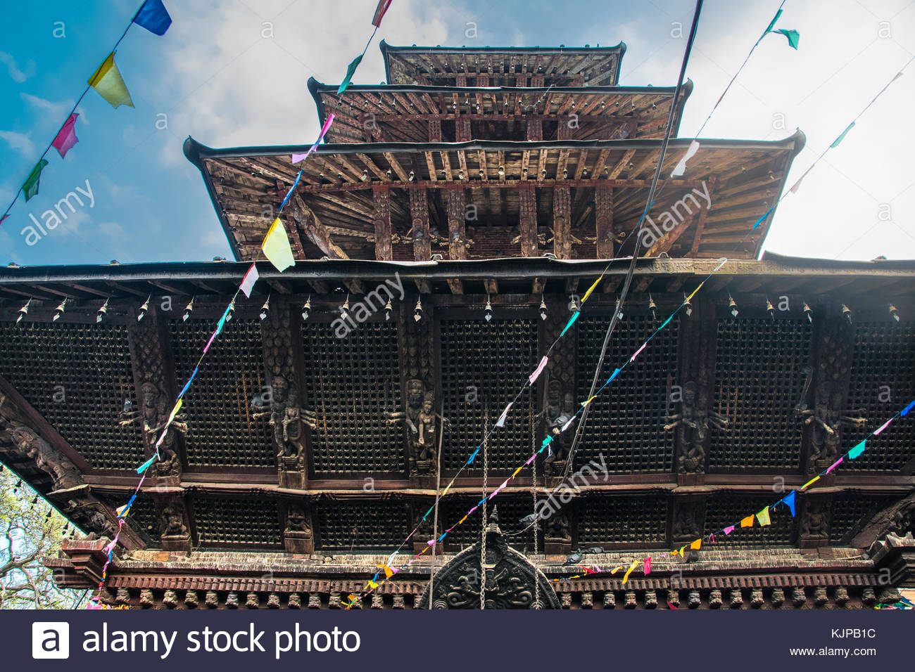 traditional building with old architecture nepalese with wooden roofs in kathmandu. nepal - Stock Image