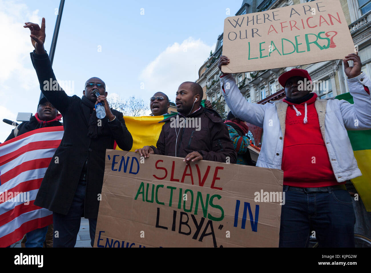 London, UK. 26th Nov, 2017. 26 November, 2017. No Borders, No Slavery Protest. Embassy of Libya, London UK. Following - Stock Image
