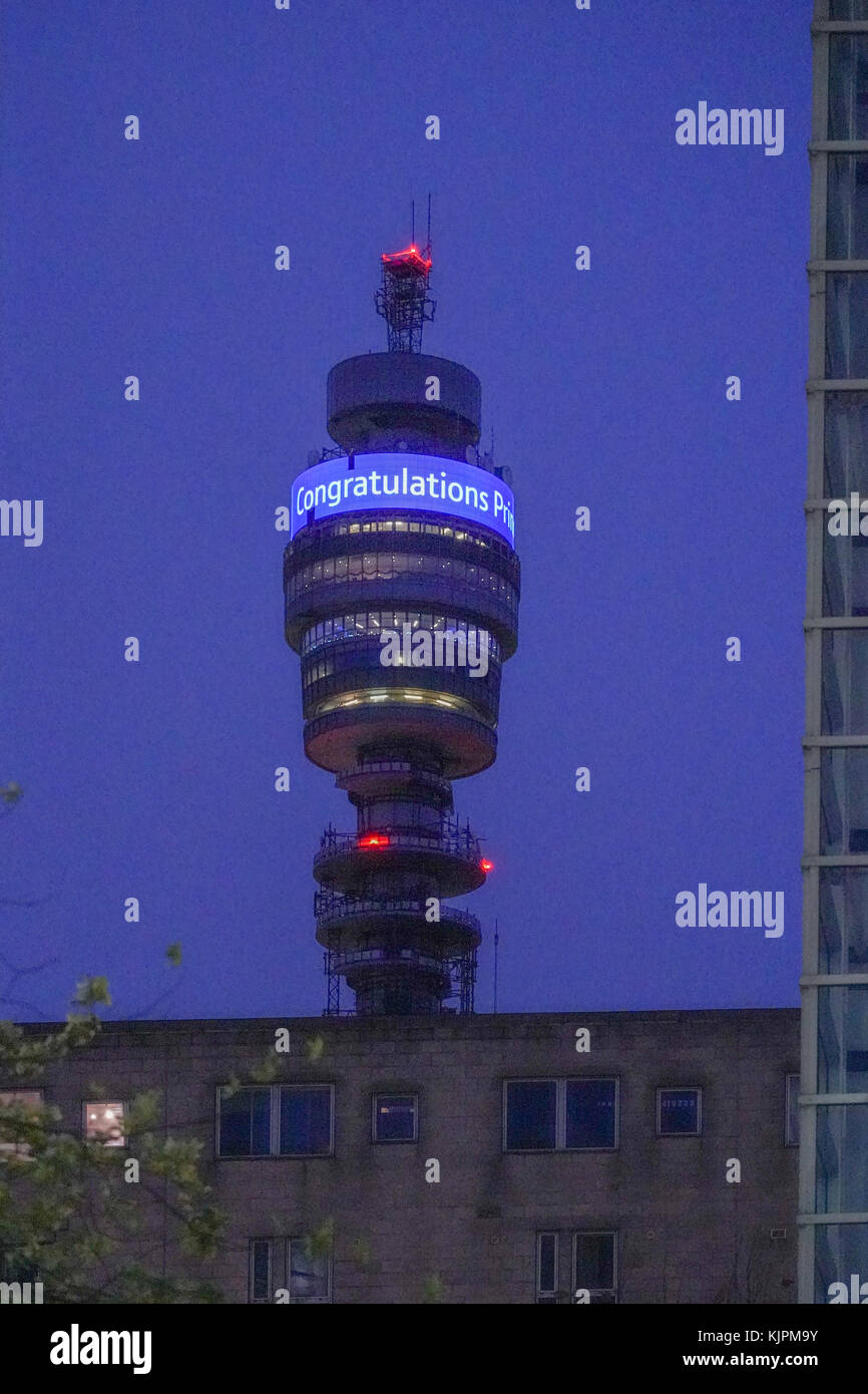 London, UK. 27th Nov, 2017. The BT Tower (previously the Post Office Tower) in London offers its congratulations Stock Photo