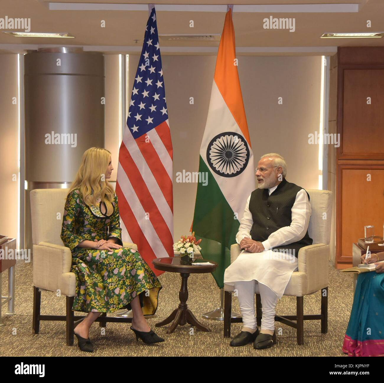 Hyderabad, India. 28th Nov, 2017. Indian Prime Minister Narendra Modi, right, holds a bilateral meeting with Ivanka - Stock Image