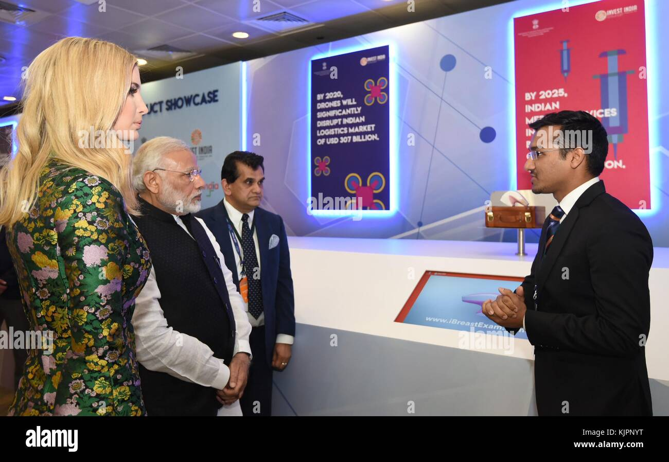 Hyderabad, India. 28th Nov, 2017. Indian Prime Minister Narendra Modi, center, and Ivanka Trump, daughter of U.S. - Stock Image