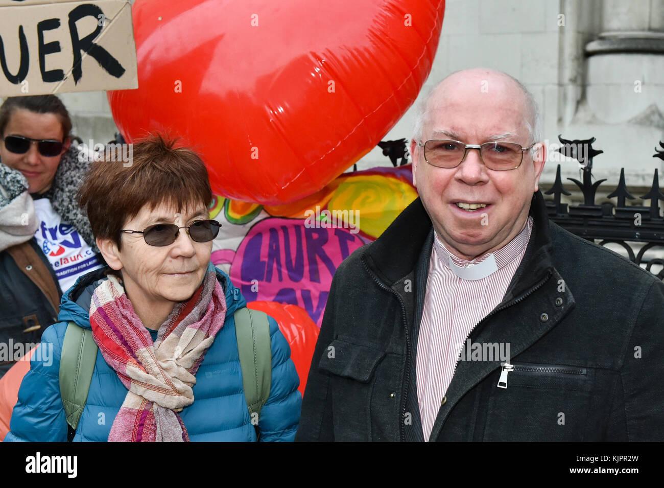London, United Kingdom. 29 November 2017. Reverend Alexander Love and Sirkka-Liisa Love outside the Royal Courts Stock Photo