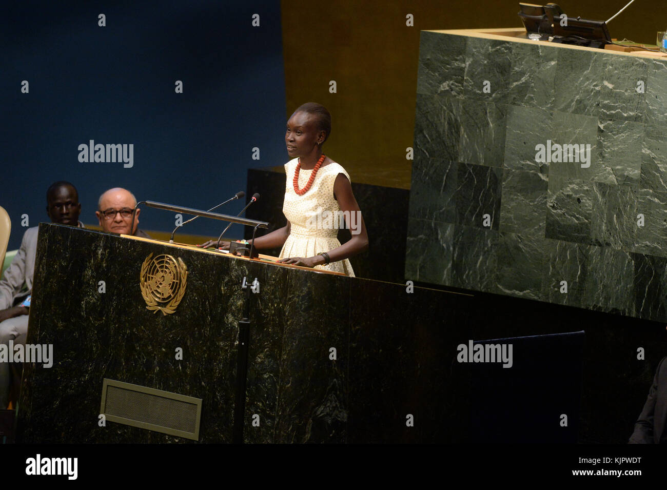 NEW YORK, NY - SEPTEMBER 16: UNHCR supporter Alek Wek speaks during UNHCR #WithRefugees petition handover at UN - Stock Image