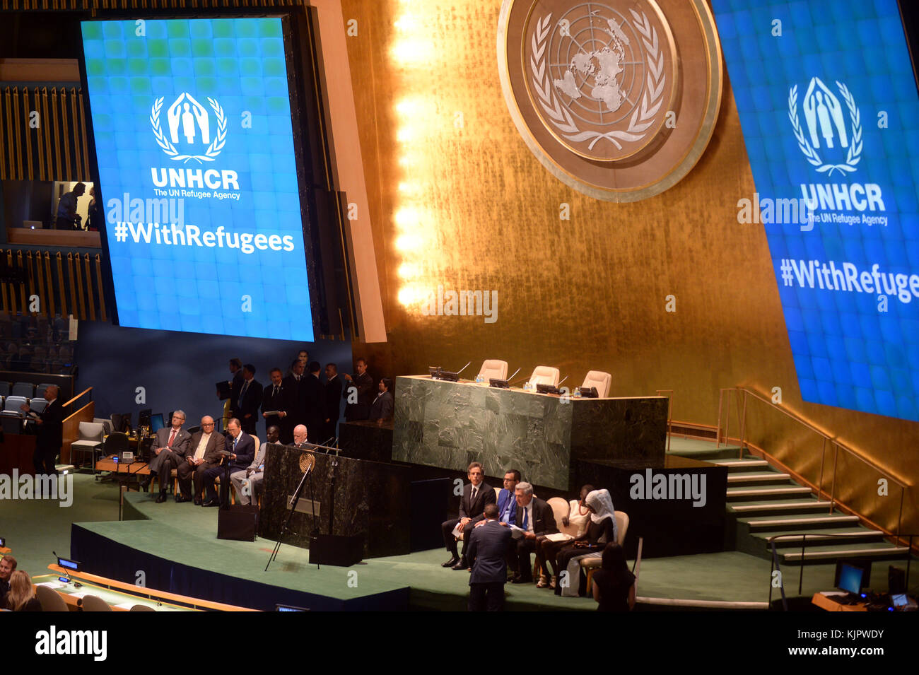 NEW YORK, NY - SEPTEMBER 16: UNHCR supporter Ben Stiller speaks during UNHCR #WithRefugees petition handover at - Stock Image