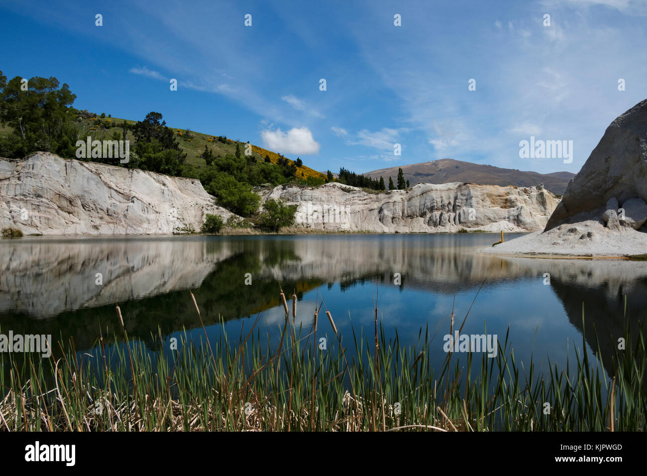 St. Bathans reflection on a clear day. - Stock Image