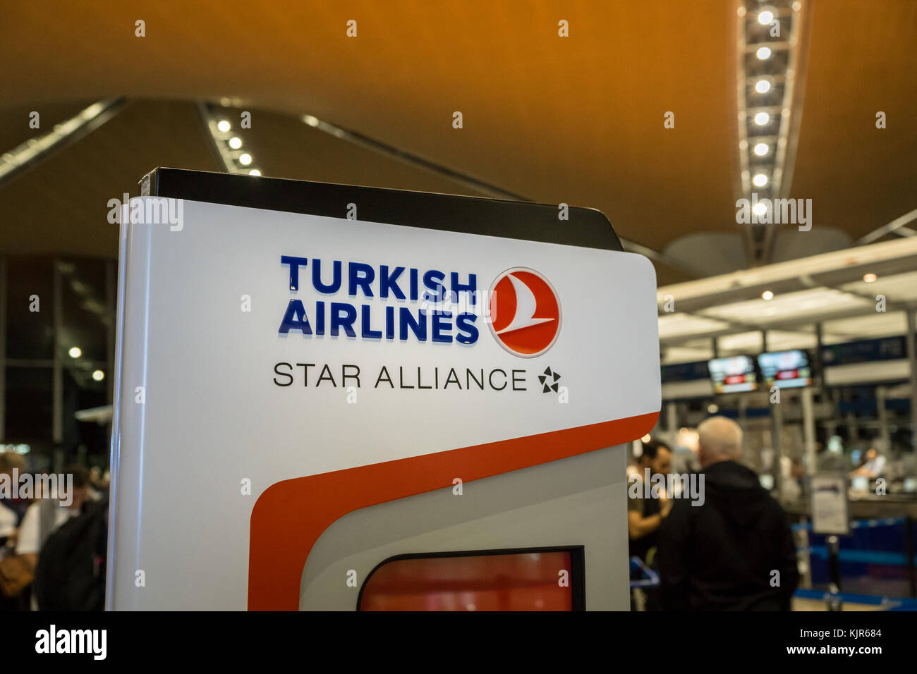 Kuala Lumpur, Malaysia -November 2017: Turkish Airlines check-in counter at Kuala Lumpur International Airport. - Stock Image