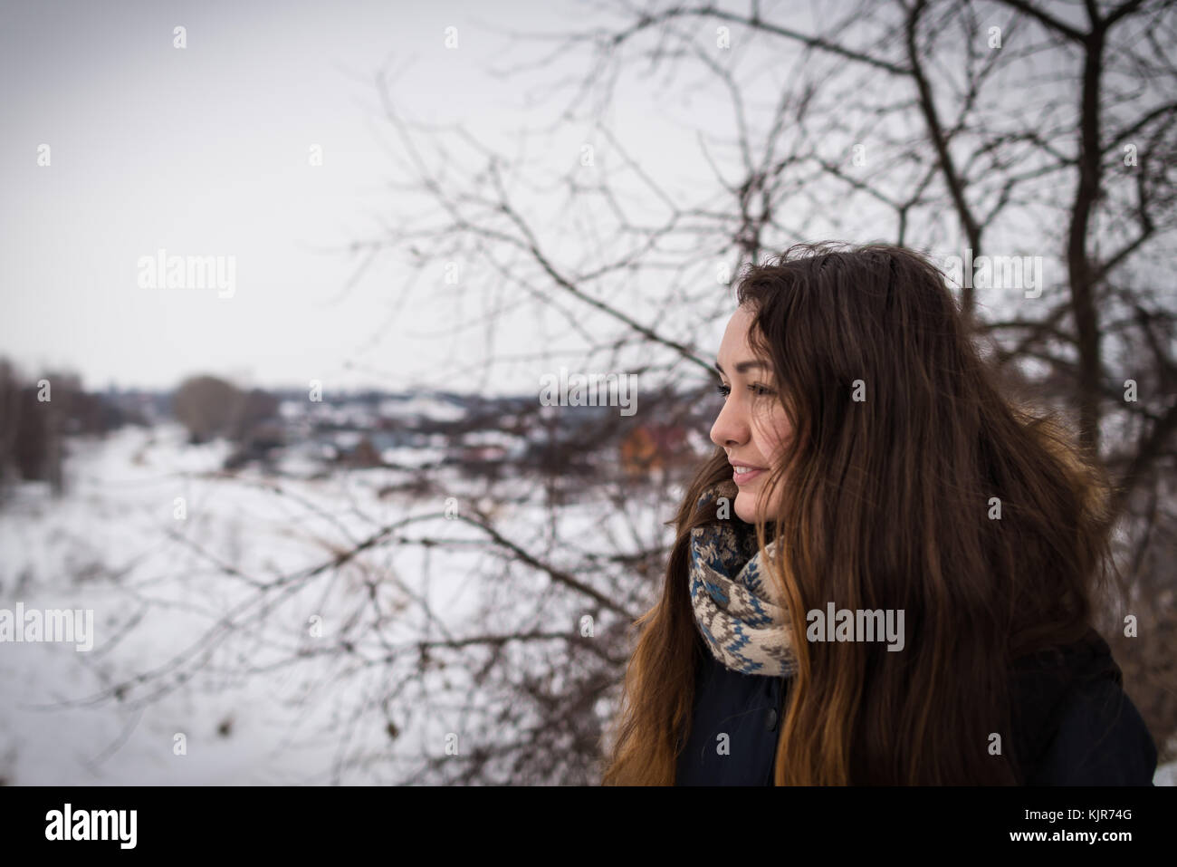 Pensive and romantic girl with beautiful long hair on the winter background looking away on the winter landscape - Stock Image