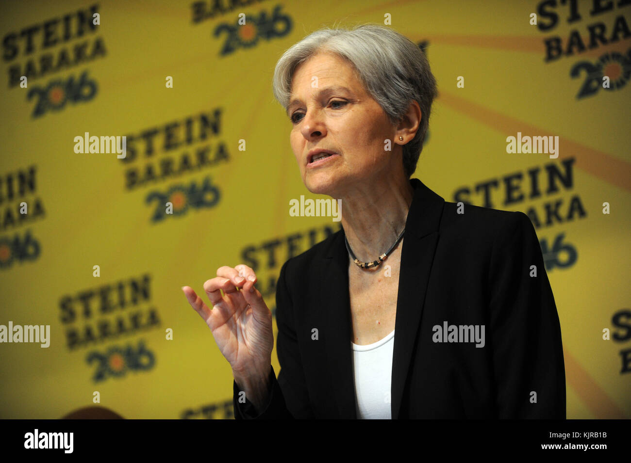 NEW YORK, NY - AUGUST 19: Green Party presidential nominee Jill Stein discusses 'Green New Deal' in New York - 2016 Stock Photo