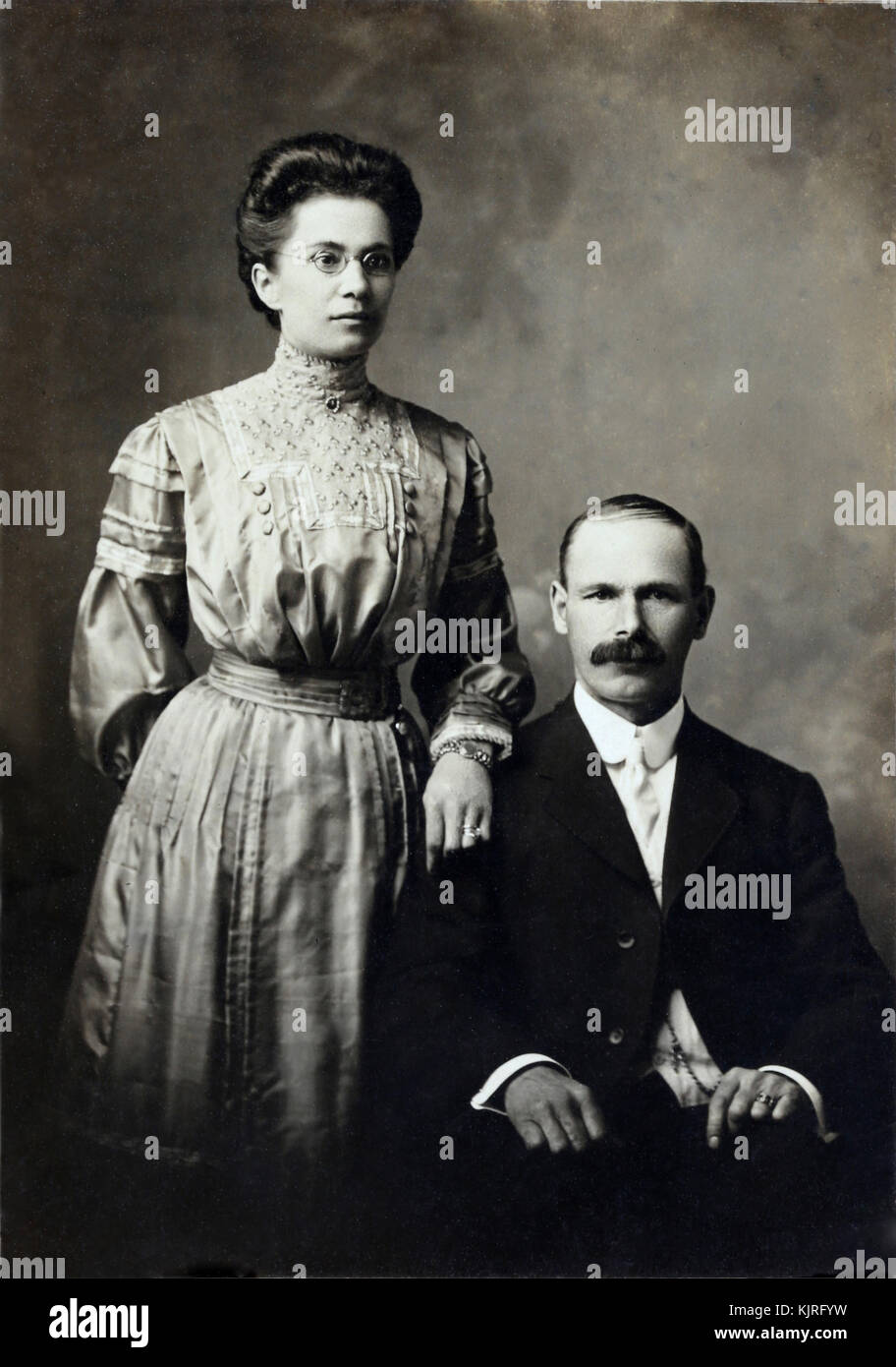 Historical carte de visites in sepia and black and white with a few Tintypes of personal family heritage in print - Stock Image