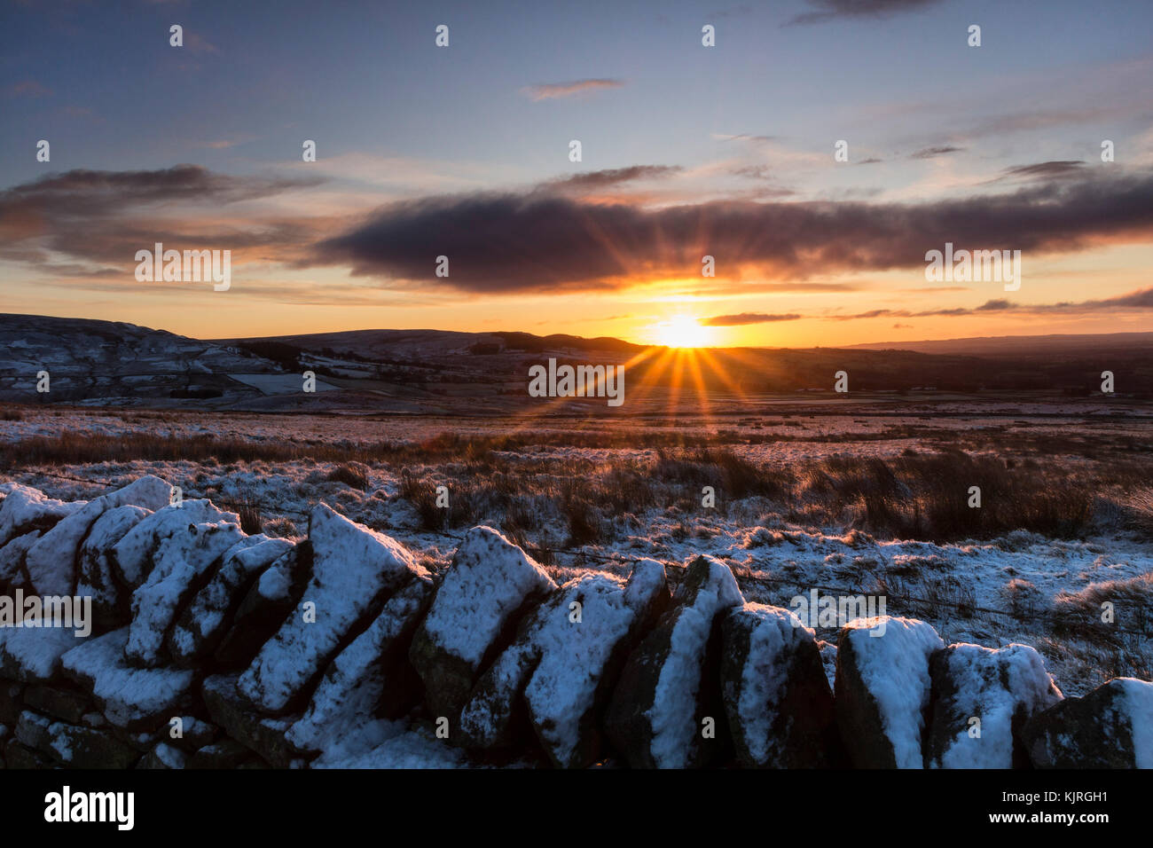 Stotley, Teesdale, County Durham, UK. Saturday 25th November 2017. UK Weather. It was a colourful if rather snowy - Stock Image