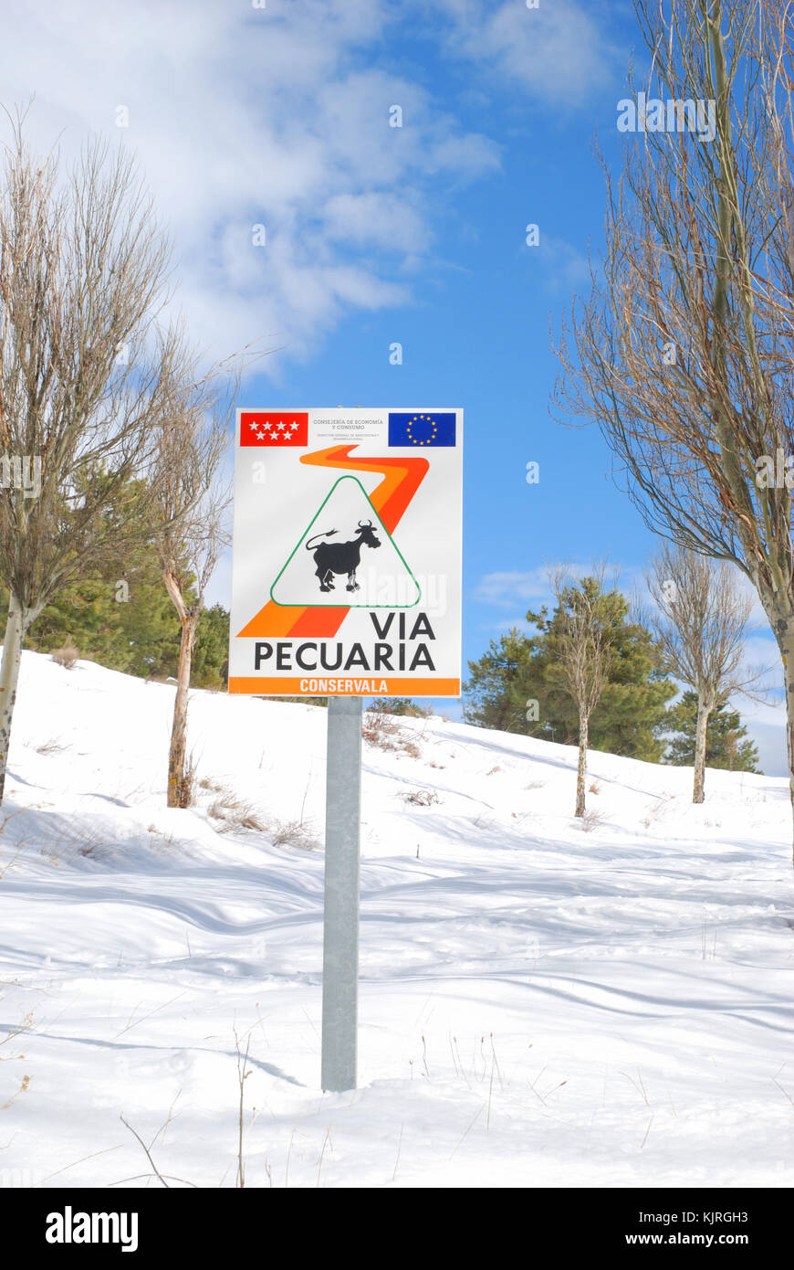 Via Pecuaria signpost. Bustarviejo, Madrid province, Spain. Stock Photo