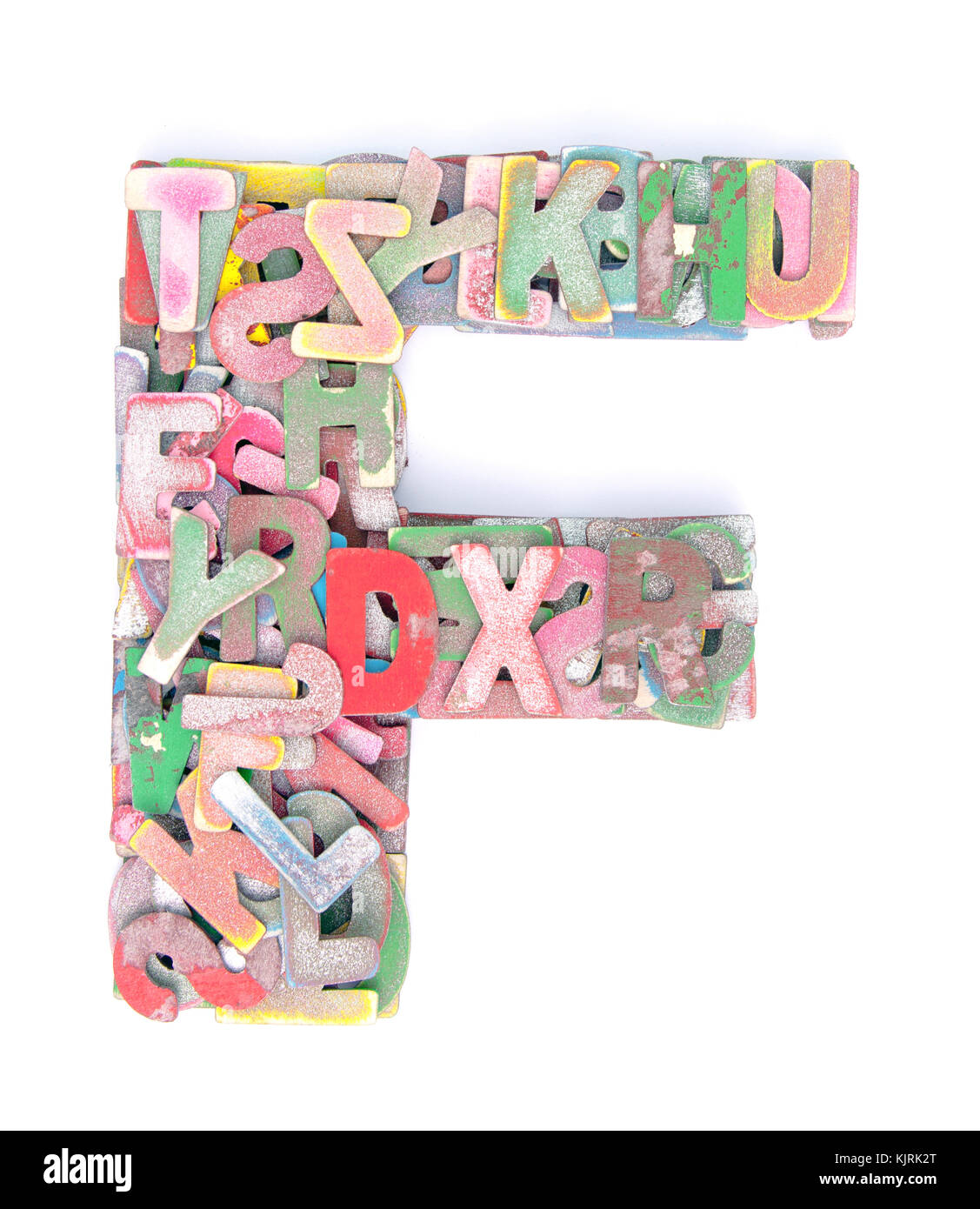 lots of small wooden letters to make up the letter f