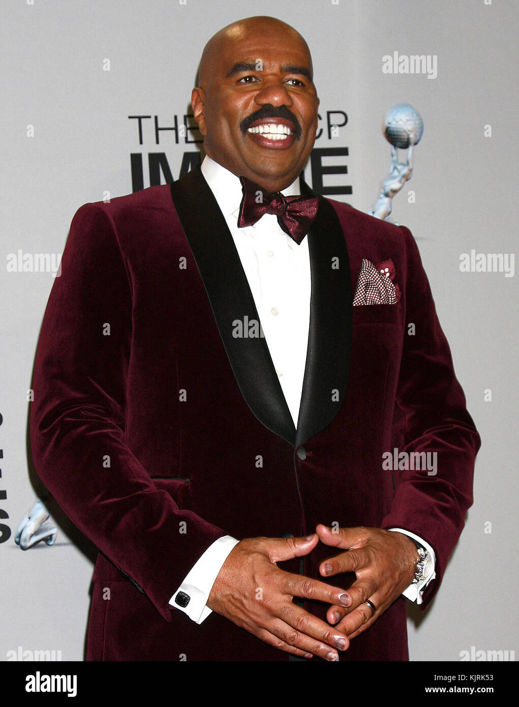 LOS ANGELES, CA - FEBRUARY 01: Steve Harvey poses in the press room at the 44th NAACP Image Awards at the Shrine Stock Photo