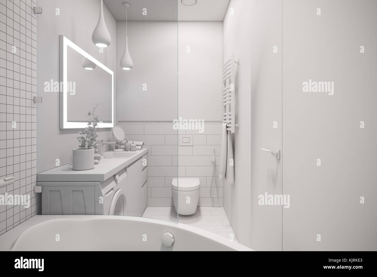 3d illustration of an interior design of a white minimalist bathroom ...