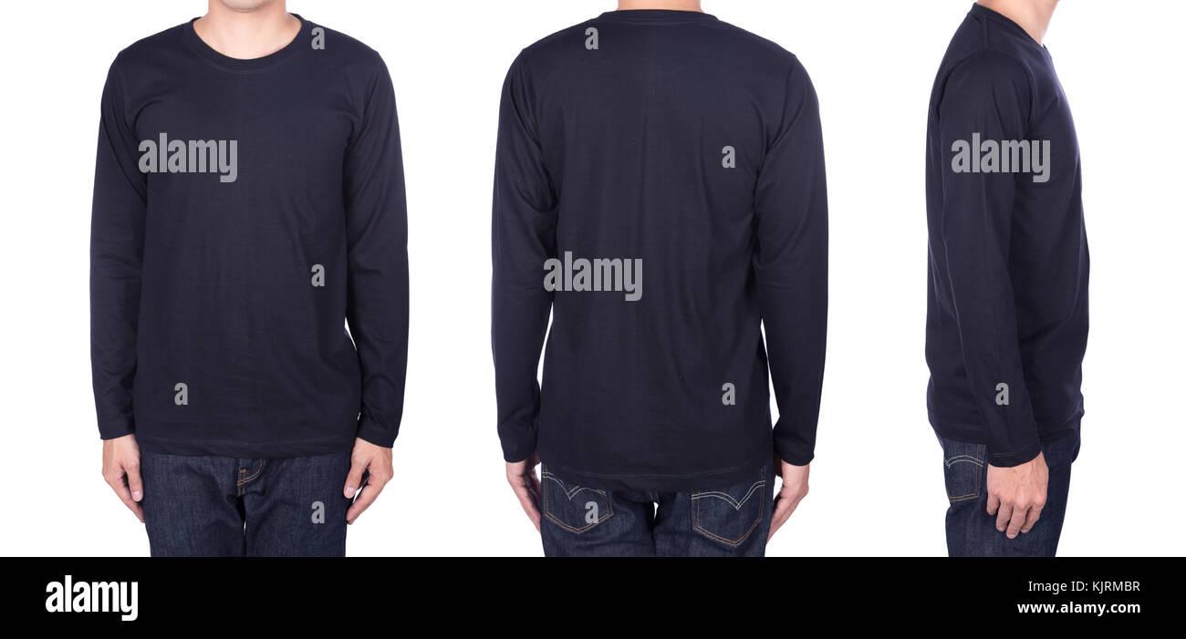 Black Long Sleeved T Shirt Template Stock Photos Black Long - Long sleeve t shirt template