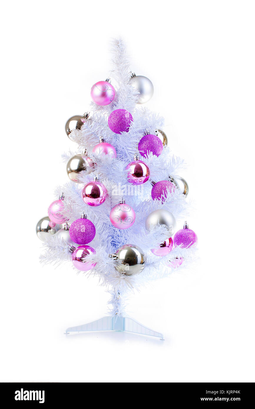 White Christmas Tree With Silver And Pink Baubles Ornaments Pink Stock Photo Alamy
