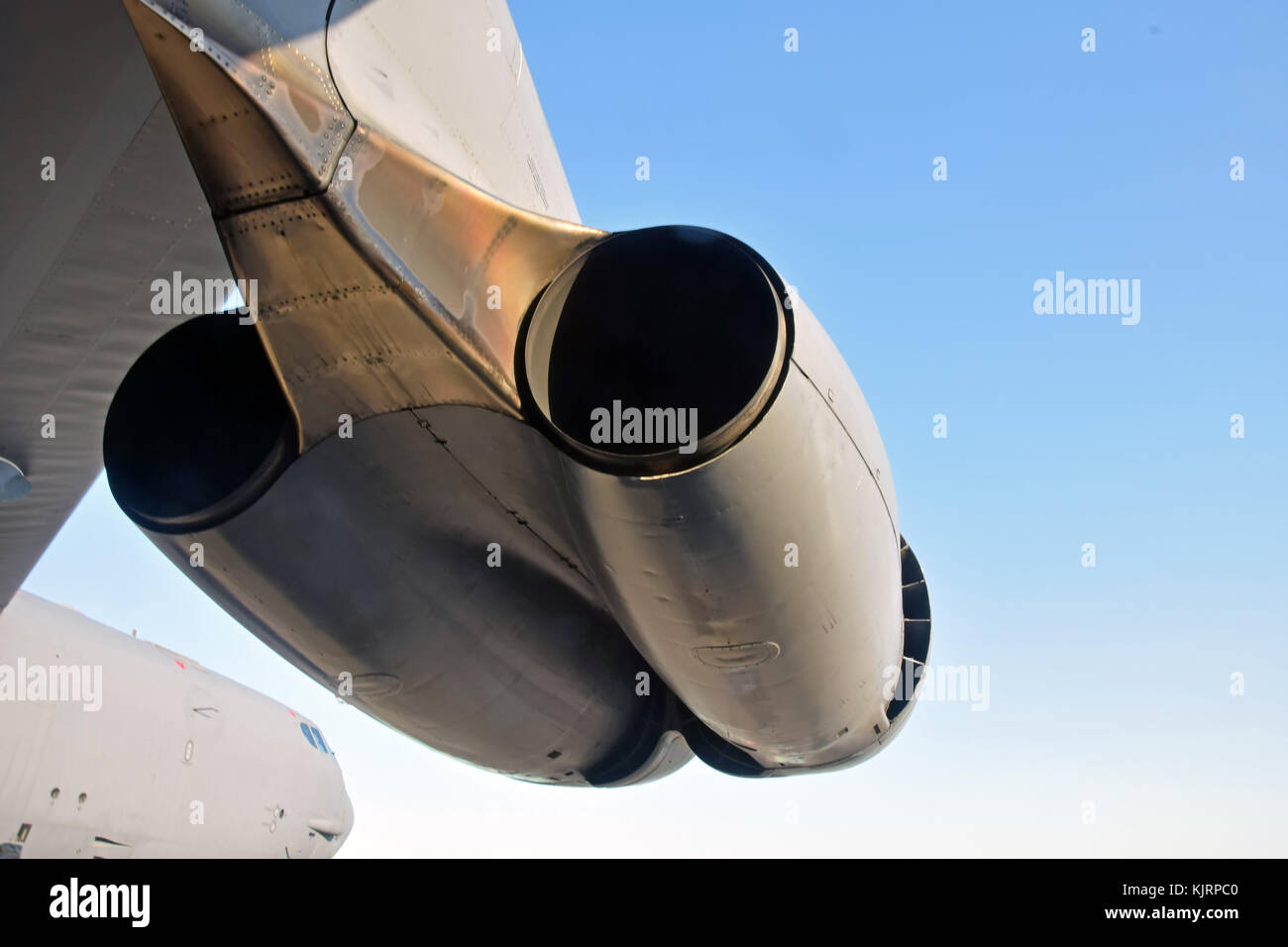 Heavy gomber twin jet engines closeup view - Stock Image