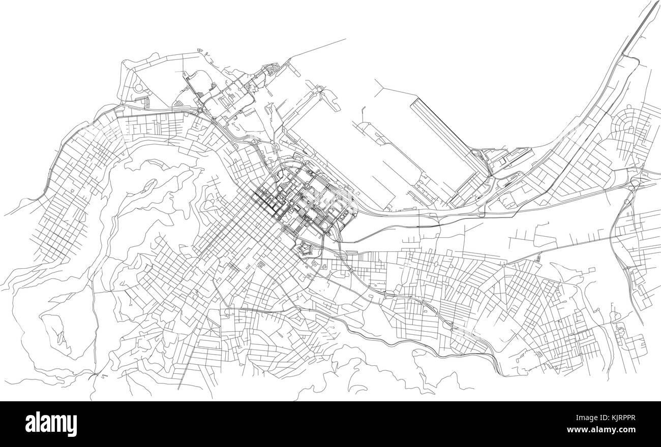 Streets of Cape Town, city map, South Africa. Street map Stock