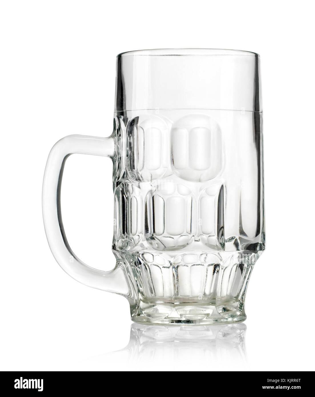 Empty beer mug isolated on white background - Stock Image