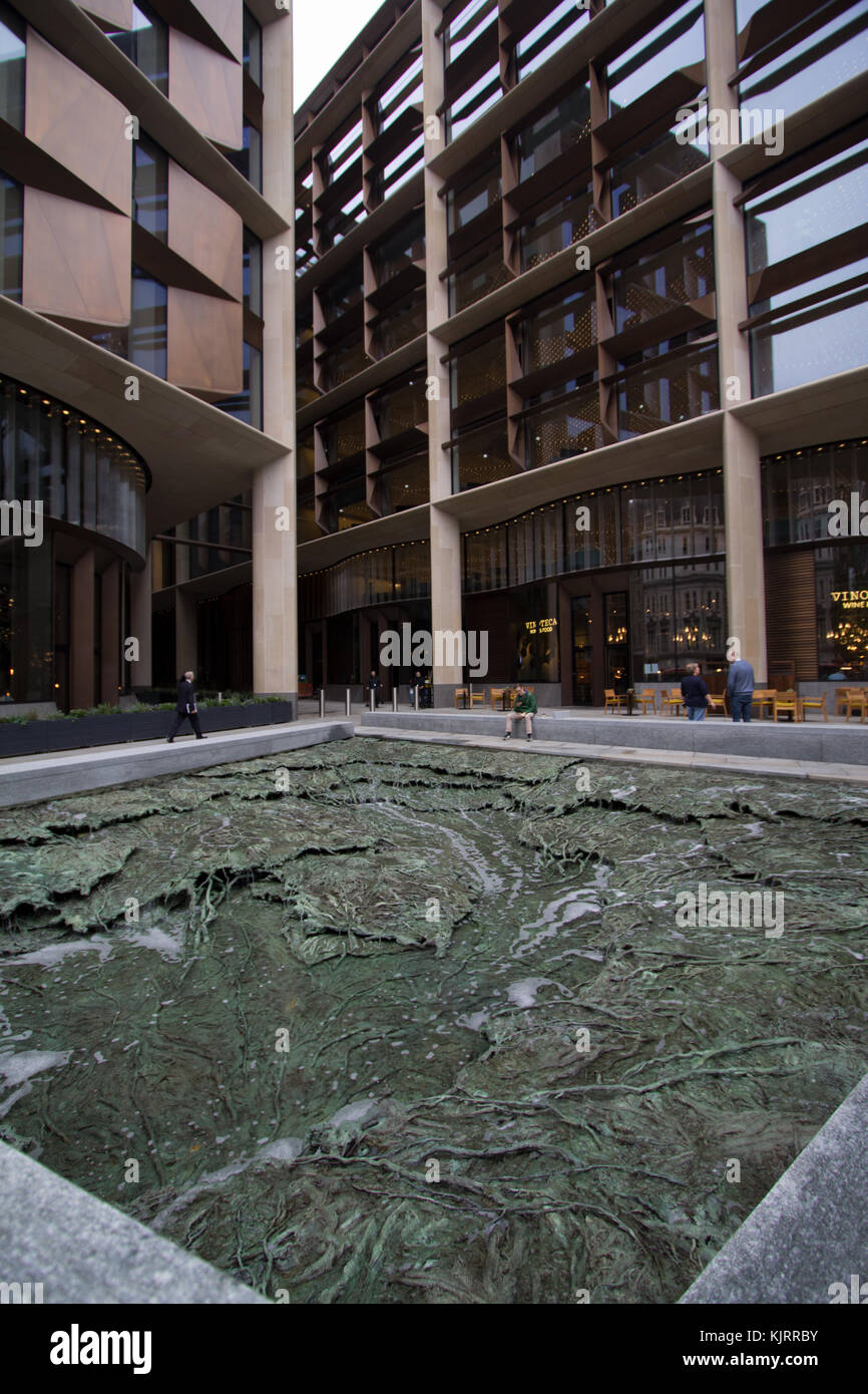 Forgotten Streams by Cristina Iglesias, fountain, water feature,stream, outside Bloomberg building, London, opened - Stock Image