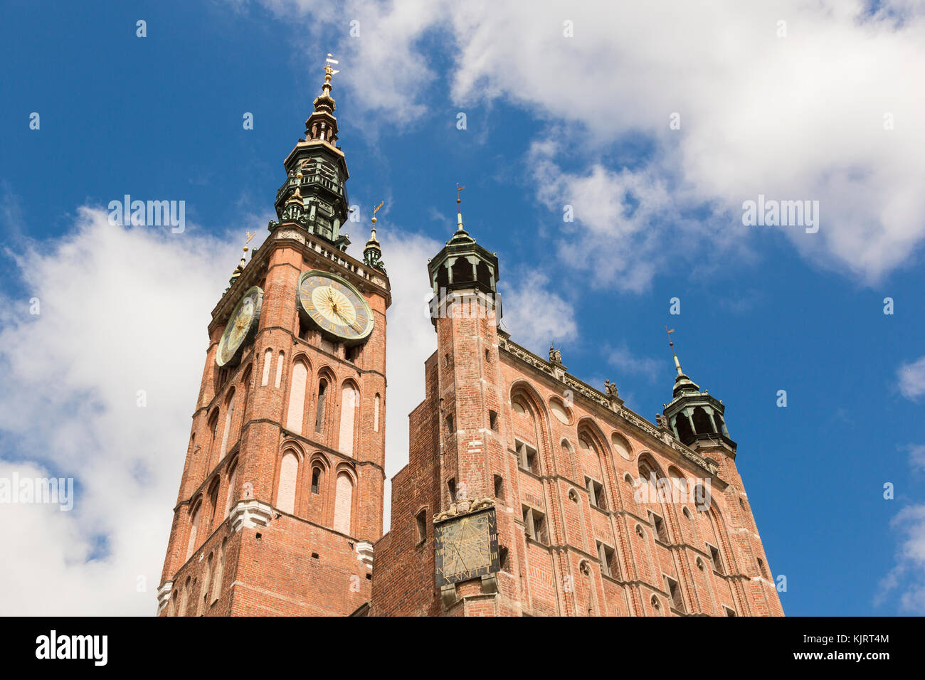 Tower of Main City hall in the old city of Danzig, Poland Stock Photo