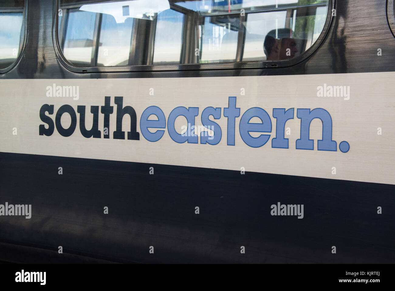 side of Southeastern train with logo. - Stock Image
