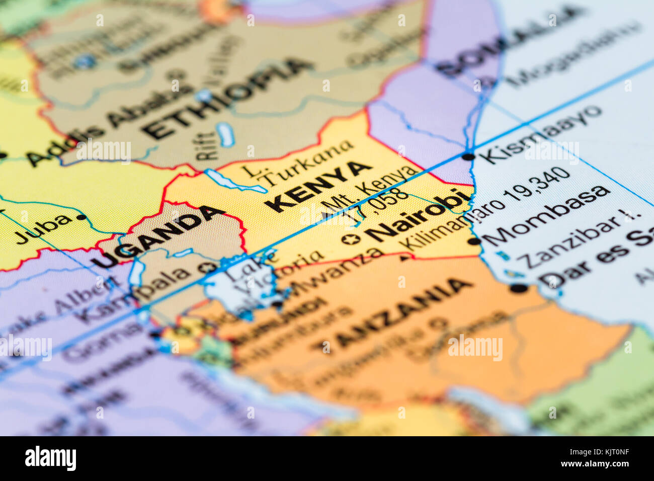 Close up of a world map with the country of kenya in focus stock close up of a world map with the country of kenya in focus gumiabroncs Image collections