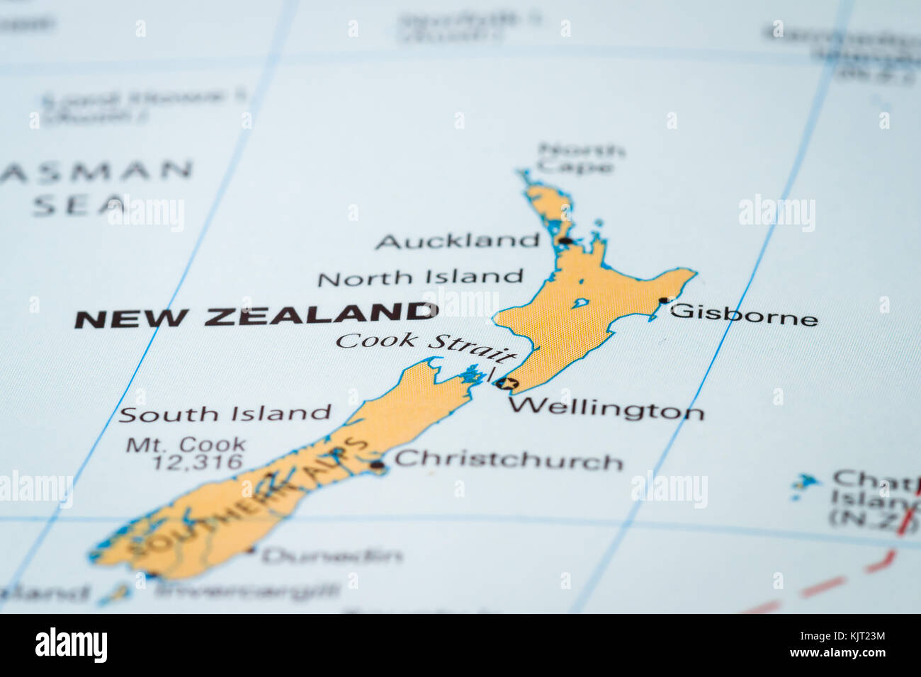 New Zealand Map Of The World.World Map With The Country Of New Zealand In Focus Stock Photo