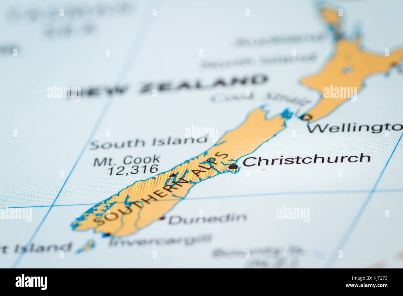 World Map With The Country Of New Zealand In Focus Stock Photo
