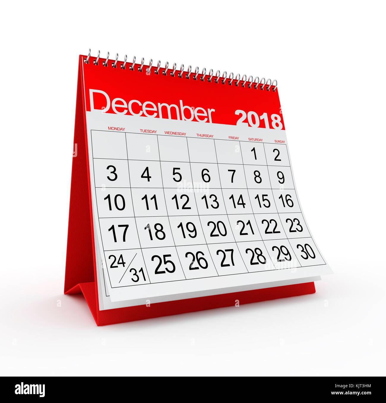 December 2018 Monthly Calendar. 3d rendered illustration. - Stock Image