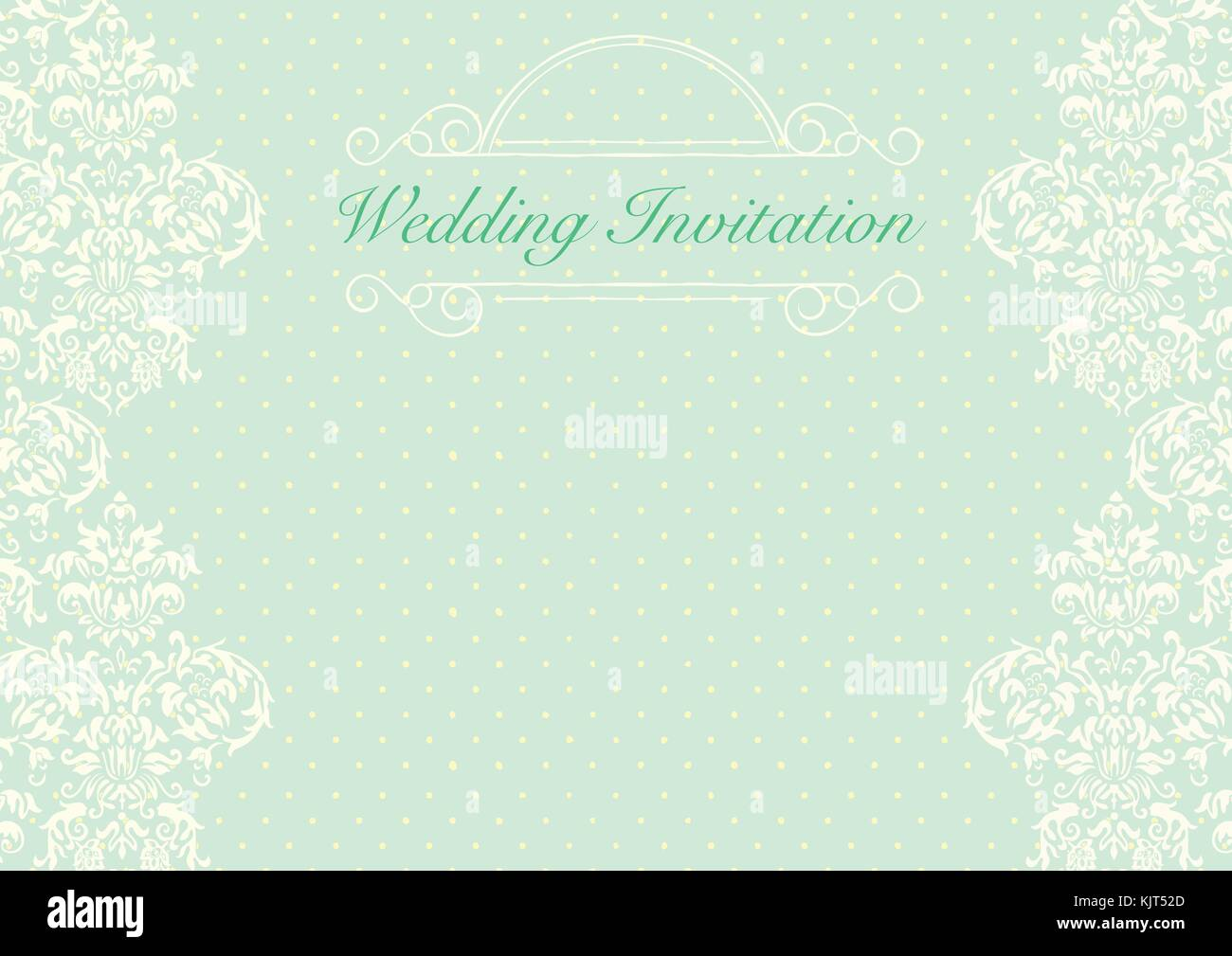 The green wedding invitation card background template with yellow ...