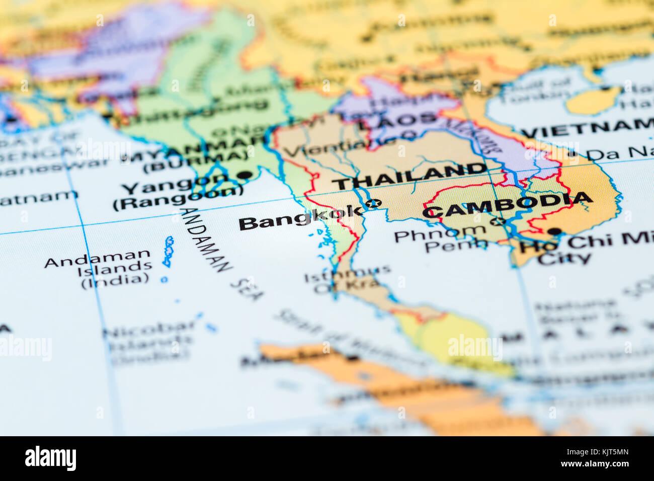Bangkok tourist map stock photos bangkok tourist map stock images world map with a close up of bangkok thailand in focus stock image gumiabroncs Image collections