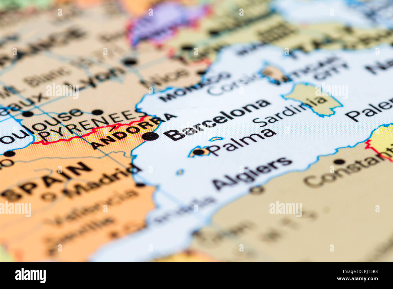 Close Up Of A World Map With Barcelona In Focus Stock Photo Alamy