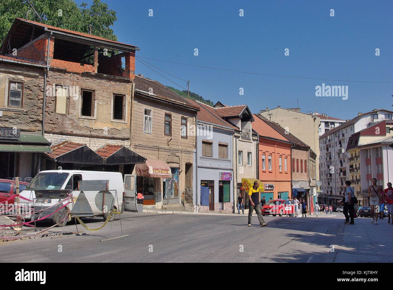 The town of Zvornik (Bosnia and Hercegovina): The Main Square - Stock Image