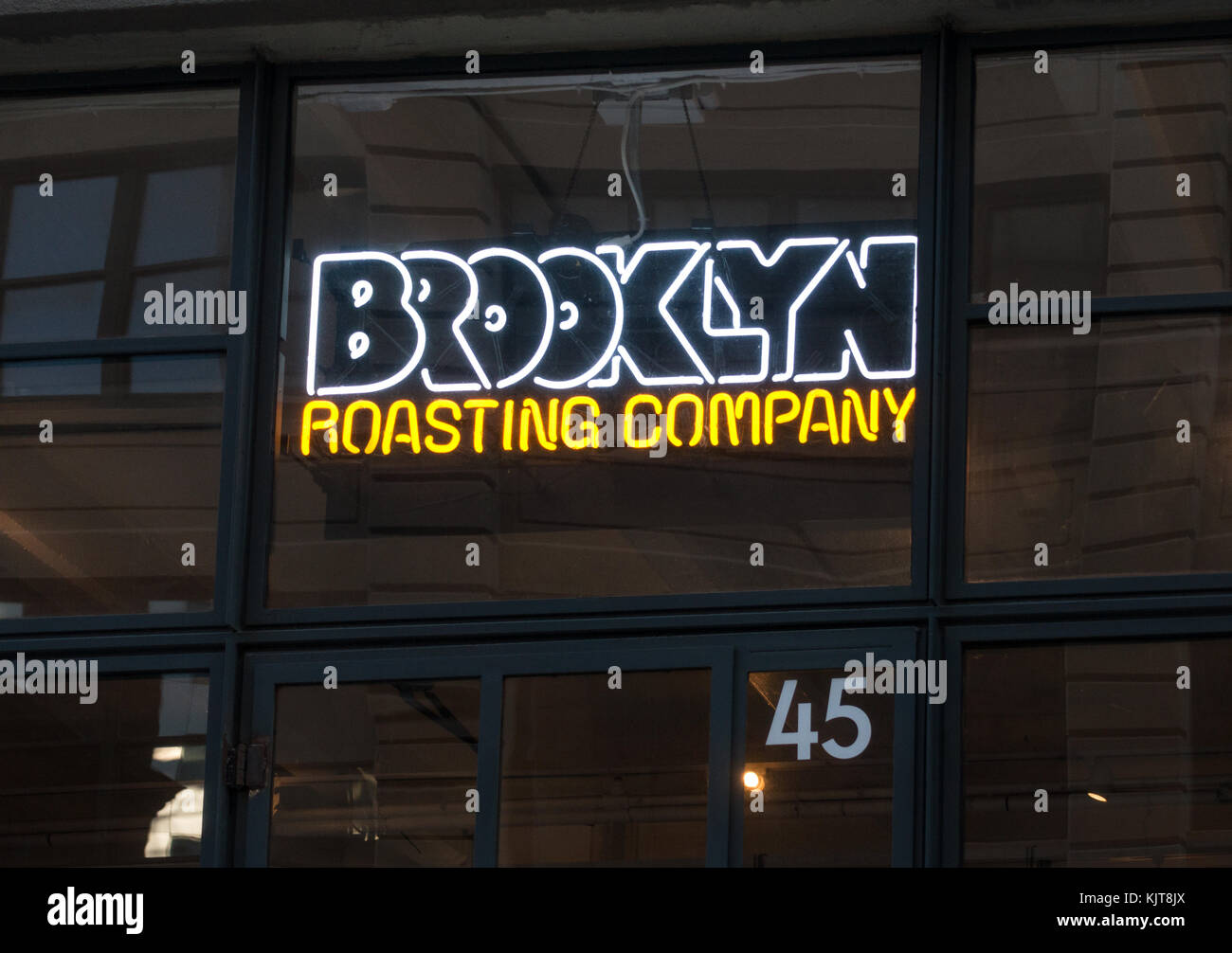 Entrance to the Brooklyn Roasting Company, a coffee producer - Stock Image