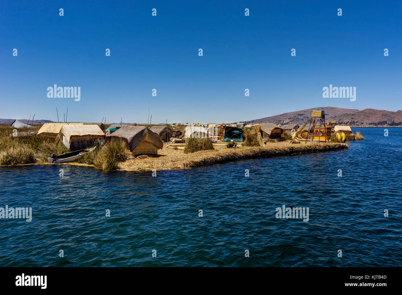 Photo taken in August 2017 in Copacabana Bolivia, South America: Floating islands made up of Totora reed near Huatajata, - Stock Image