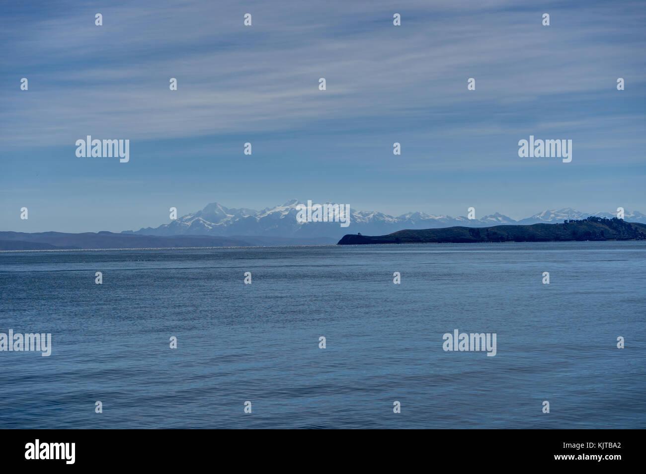 Photo taken in August 2017 in Copacabana Bolivia, South America: La Isla del Sol lake Titicaca - Stock Image