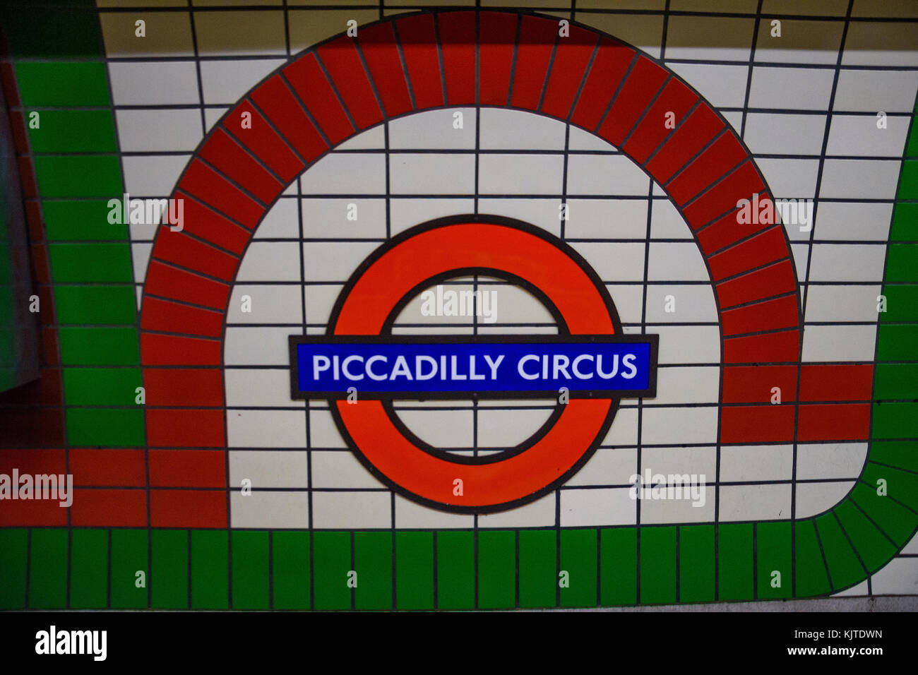 Underground Piccadilly Circus tube station in London on February 2017. The London Underground is the oldest underground - Stock Image
