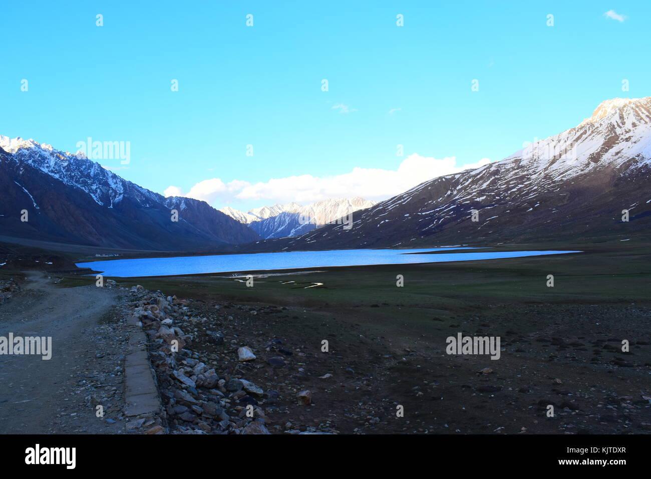 Beautiful view of Shandur Lake near the worlds highest polo ground in Shandur Top, Chitral, KPK, Pakistan - Stock Image